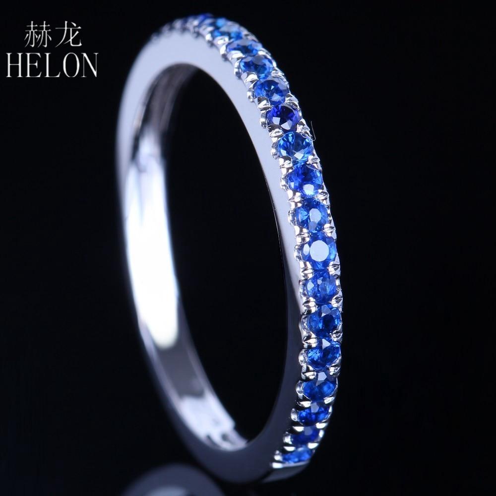 HELON 0.4CT 100% Genuine Sapphires Half Eternity Ring Solid 10k White Gold Women Engagement Wedding Band Fine Jewelry