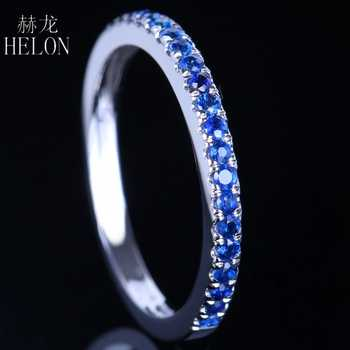 HELON 0.4CT 100% Genuine Sapphires Half Eternity Ring Solid 10k White Gold Women Engagement Wedding Band Fine Jewelry - DISCOUNT ITEM  13% OFF All Category