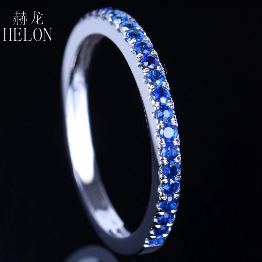 Takı ve Aksesuarları'ten Halkalar'de HELON 0.4CT 100% Hakiki Safir Yarım aşk yüzüğü Katı 10 k Beyaz Altın Kadınlar Nişan Düğün Band Güzel Takı'da  Grup 1