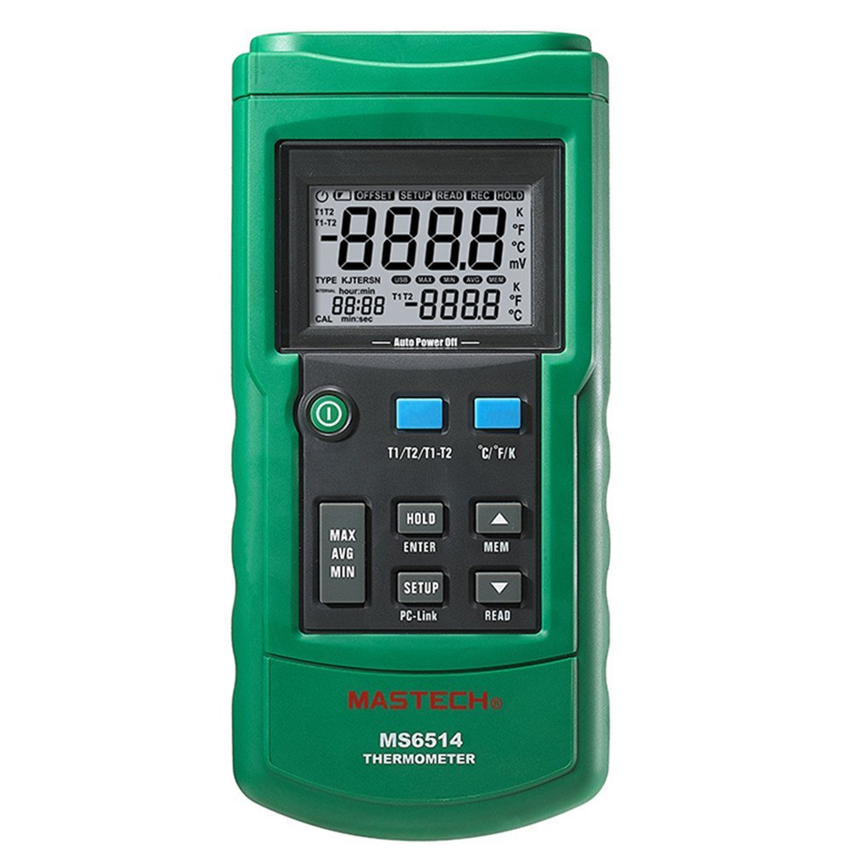 MS6514 Dual Channel Digital Thermometer Temperature Logger Tester USB Interface 1000 Sets Data KJTERSN Thermocouple dual channel digital thermometer temperature logger tester usb interface 1000 sets data kjtersn thermocouple mastech ms6514