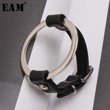 [EAM] 2020 New Spring Summer Temperament Metal Pu Leather Split Joint Cool Buckle Women Bracelet Fashion Tide All match JU246