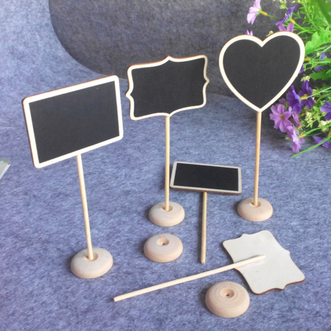 6pc Lot Rectangle Heart-shaped Wooden Holder Blackboard Message Board Seat Number Tag Sign Stent Wedding Party Decorations