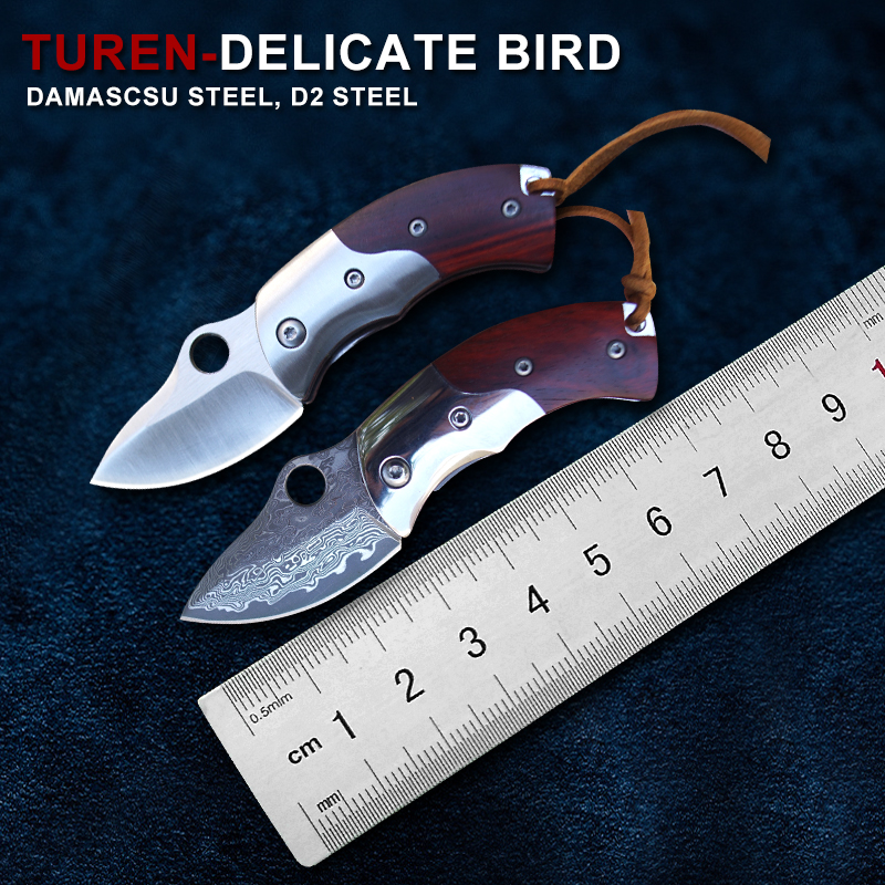 TUREN Damascus steel knife outdoor folding knives with self defense wilderness survival knife field D2 steel