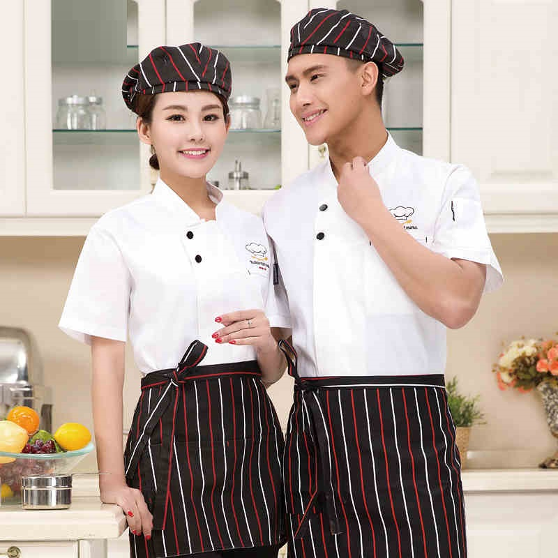 (10 sets Hat&Shirt&Apron) chinese chef captain uniform with cap and apron baker wear white top shirt ship by