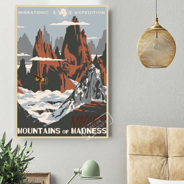 1930 Expedition Mountains Of Madness Travel Vintage Retro Kraft Poster Decorative DIY Wall Canvas Sticker Home Art Posters Decor