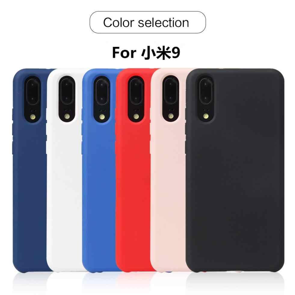 Para xiao mi mi 9/mi 8 lite/mi 8 pro caso fino sólido tpu macio de volta escudo do telefone móvel proteção caso capa