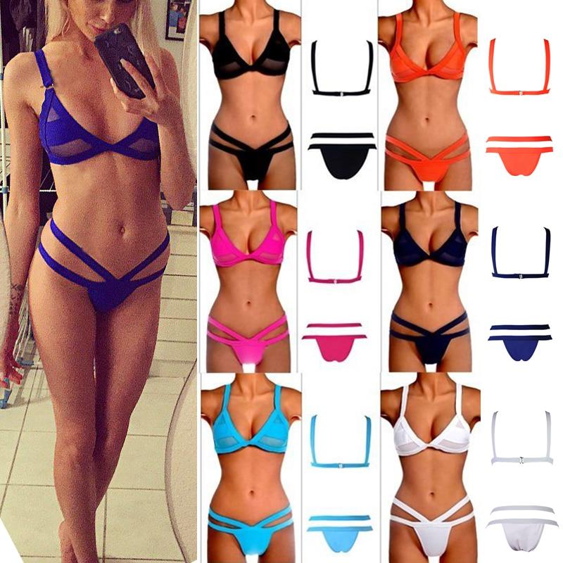 Women Fasion Sexy Mesh Bikini Set Hollow Out Tops Bandage Swimsuit Strappy Swimwear Sexy Mini String Thong 5 Colors