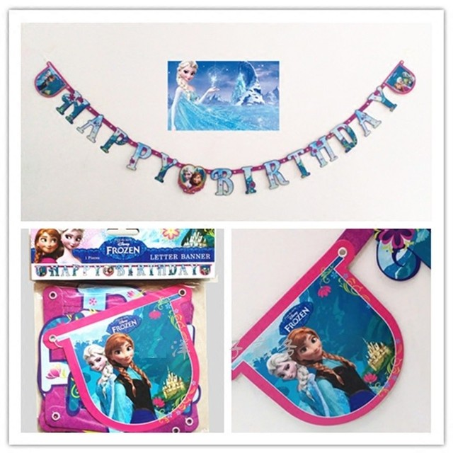 Snow Queen Elsa Dan Anna Happy Birthday Party Flag Childrens Letters Decoration