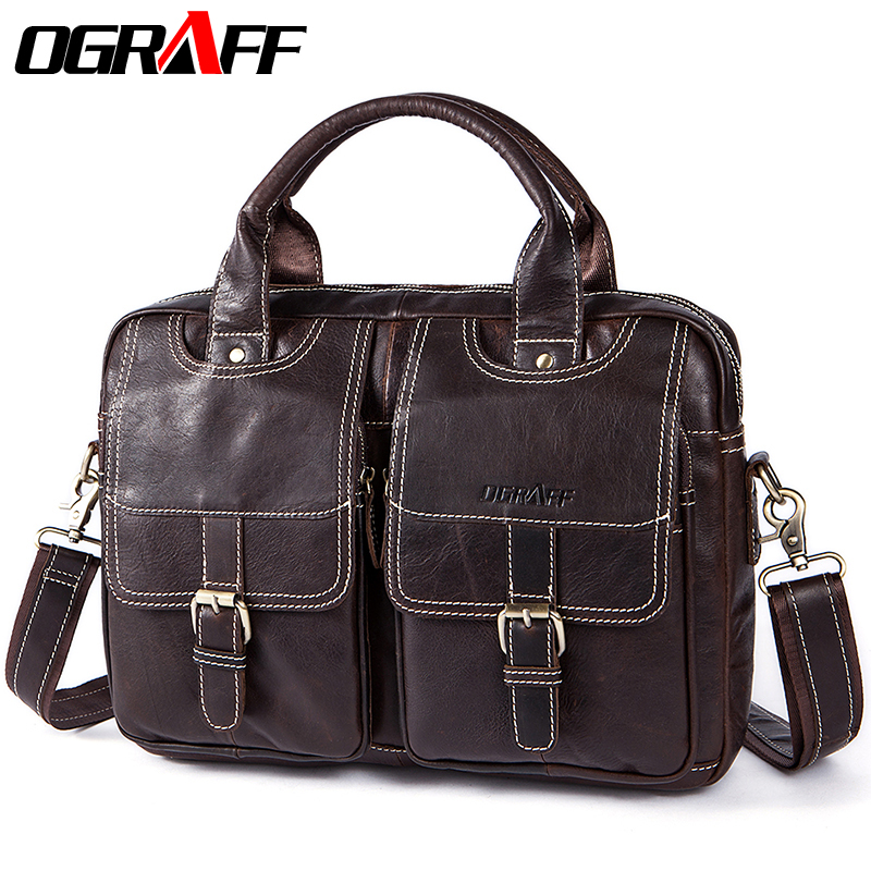 OGRAFF Genuine Leather Men Messenger Bag Men Leather Handbags Designer Briefcase Tote Laptop Bags Shoulder Bag Male Travel Bags ograff men handbags briefcase laptop tote bag genuine leather bag men messenger bags business leather shoulder crossbody bag men