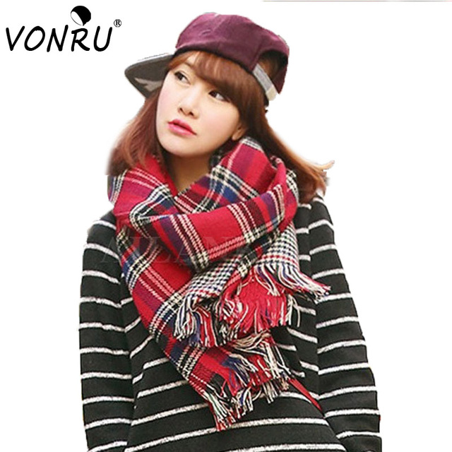Ladies Scarf Fashion Houndstooth Winter Warm Plaid Double Side Thick Long Shawl Echarpe Pashmina Cape Women Scarves 1WJ3110
