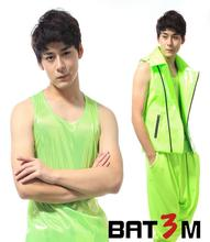 Fashion personality all-match men's clothing neon green vest men europe basic costumes 1 star style dress colete masculino