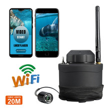 Russian menu!LUCKY 20M Portable Underwater Fishing Camera 80M Wireless WIFI Fish Finder DVR Video Recording FF3309