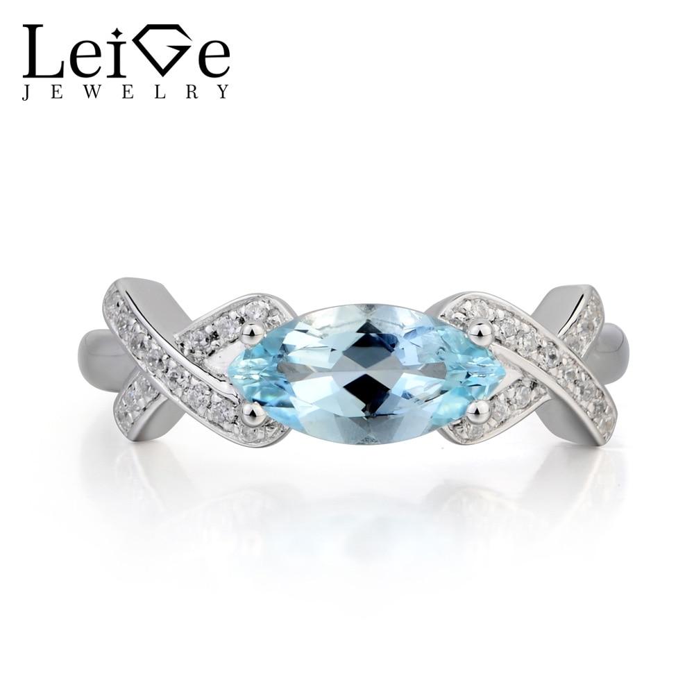 Leige Jewelry Natural Aquamarine Ring Aquamarine Wedding Ring March Birthstone Marquise Cut Blue Gemstone 925 Sterling Silver