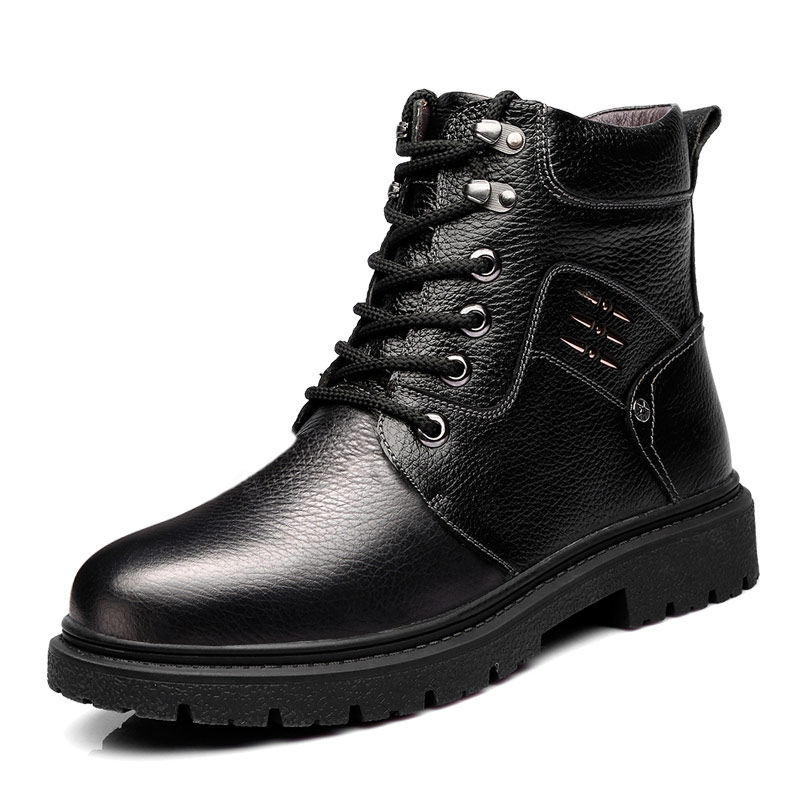 цены OSCO Men Warm Winter Boots High-top Men Military Martin Boots Super Quality Winter Men Genuine Leather Boots Fashion Shoes Men