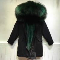 Long black raccoon fur hoodies faux fur lining for mr wear dark green fur lined jacket hoodies for winter wear