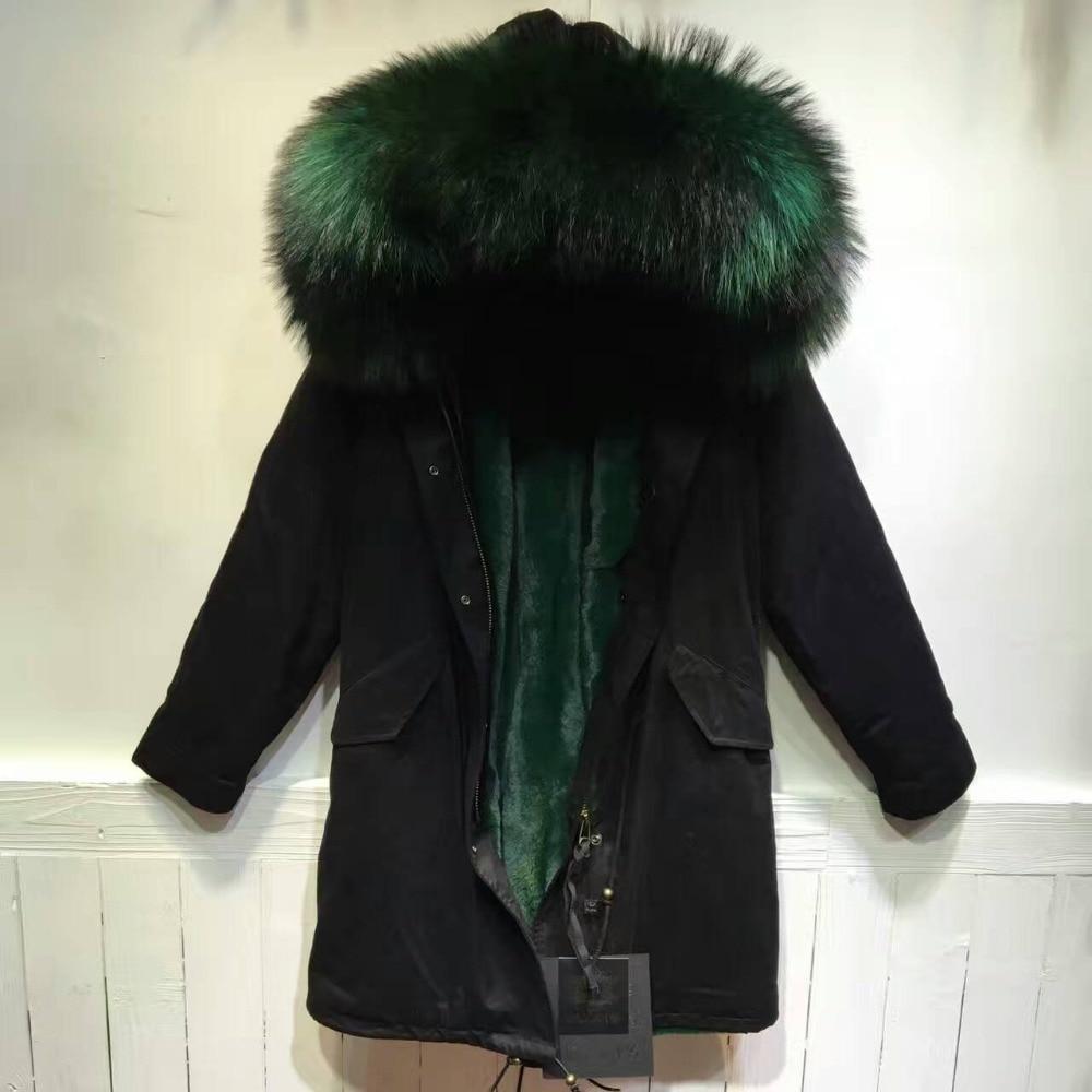 Long Black Raccoon Fur Hoodies Faux Fur Lining For Mr Wear -7360
