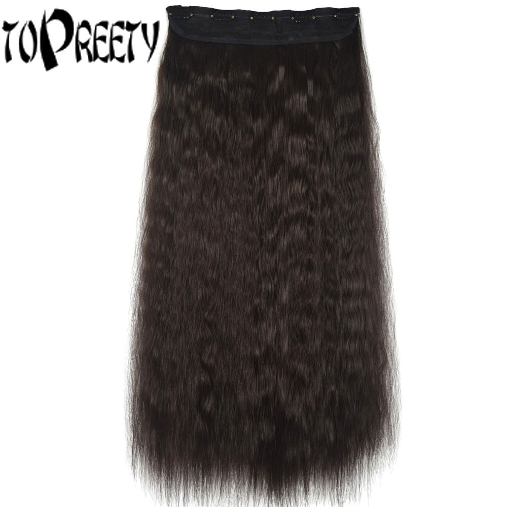 TOPREETY Heat Resistant B5 Synthetic Hair Fiber 24 60cm 110g 5 clips on clip in hair Extensions