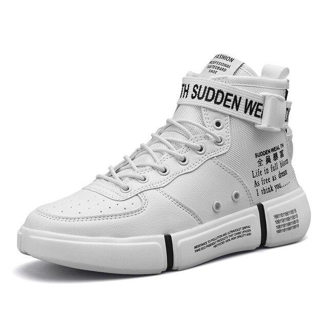 Otoño Invierno nuevo Hip Hop High Top negro rojo blanco zapatos masculinos  zapatos de los hombres 5e80eedc195