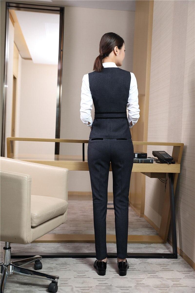 Nuevo estilo 2018 trajes de negocios para mujer con pantalones y conjuntos de Top chaleco negro y chaleco para mujer uniforme de oficina diseños-in Trajes de pantalón from Ropa de mujer    3