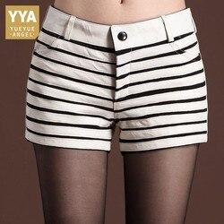 Neue Mode Frauen Plus Größe Striped Hot Shorts Slim Fit Top Qualität Schaffell Echt Leder Shorts Dicke Bootcuts Biker Shorts