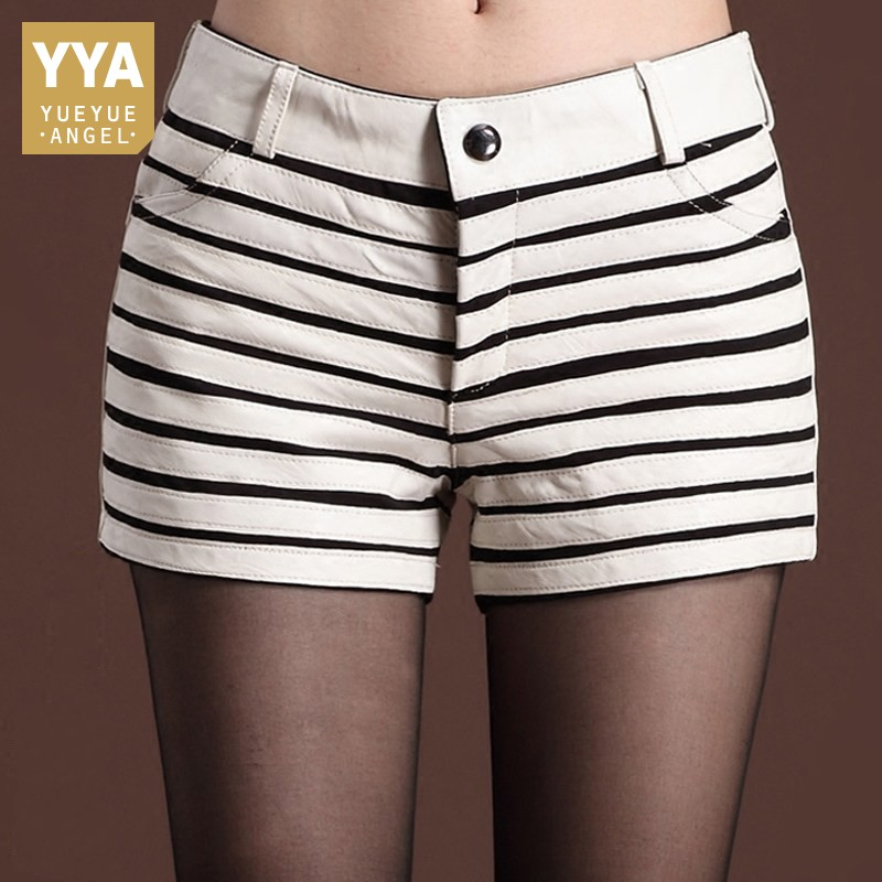 New Fashion Women Plus Size Striped Hot Shorts Slim Fit Top Quality Sheepskin Real Leather Shorts Thick Bootcuts Biker Shorts