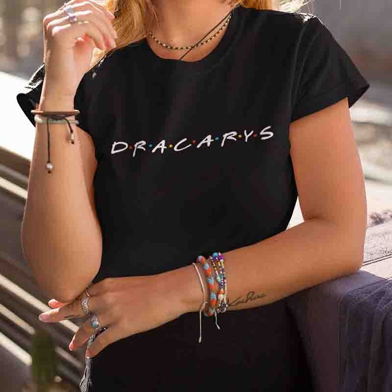 kuakuayu HJN Friends Dracarys Letter Print T Shirt Friends Tv Shows Graphic Tops Funny Streetwear Outerfit Summer Fashion Tees image