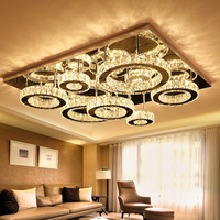 IWHD LED ceiling Lamps Home Lighting Fixtures K9 Crystal Lustere Bedroom Ceiling Lamps Tricolor dimmng Luminaria De Techo