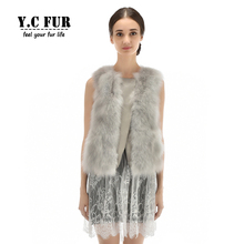 2016 New Style Fashion Women Waistcoat Natural Fox Fur Vest Patchwork With Leather Gilet With Lace New Style Female Vests