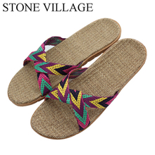 d1ad2b3c4a790 STONE VILLAGE 2018 Summer Slippers Home shoes Linen Slippers Summer Flats  Male Couple Floor Indoor Home Slipper EU35-44
