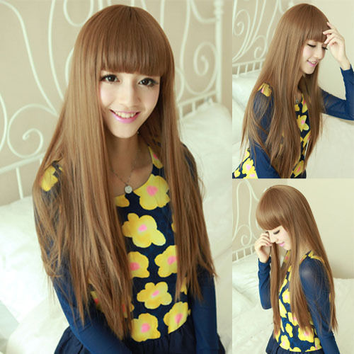 Fashion New Cute Lolita Womens Full Bangs Long Straight Full Hair Cosplay  Wig Party Wigs 7d128d2a0