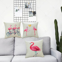 ZLJQ Cute Pink Flamingos Party Square Throw Pillow Wedding Favor Party Gifts Hawaii Beach Pool Party