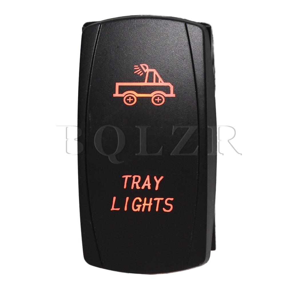 BQLZR CE Certified DC12-24V Orange Led Light 5Pin ON-OFF Tray Lights Rocker Switch bqlzr 5 pin waterproof white led light park brake 5 pin on off rocker switch for truck