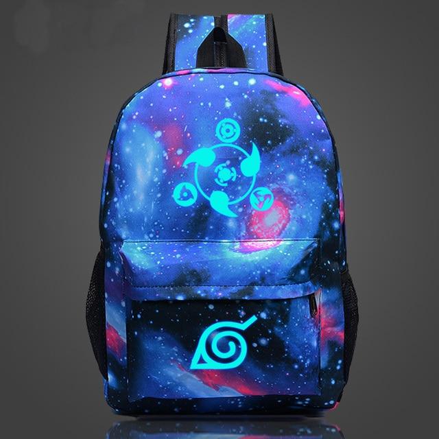 Naruto write round eyes school students schoolbag men and women shoulder bag Korean couple cartoon casual canvas backpack