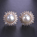 Blucome Round Sunflower Big Fine Simulated Pearl Earrings For Women Lady Gold Plated Full Crystals CZ Zircon Copper Femmes Joyas