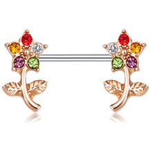 2PCS New Arrival Flowers Nipple Rings Sexy Women Crystal Nipple Rings Bar Studs Fashion Stainless Steel Body Piercing Jewelry