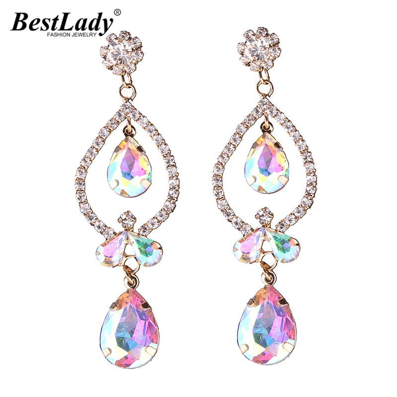 Best Lady Hot Drop Earrings Ab Color Acrylic Beads Cheap