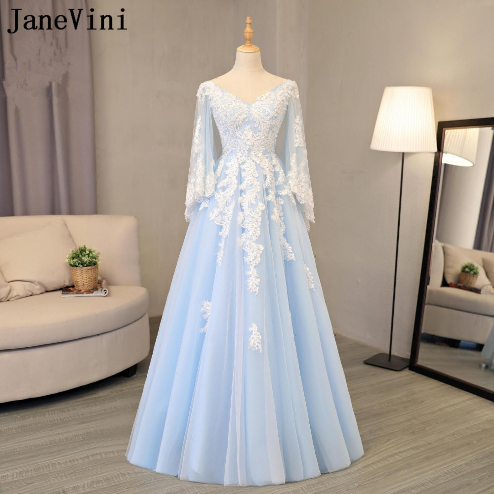 JaneVini Elegant Long   Bridesmaid     Dresses   With Sleeves A Line V Neck Lace Appliques Sequined Tulle Pageant Prom Gowns Plus Size