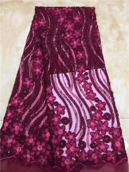French Net Lace Fabric 2019 Latest African Lace Fabric With Embroidery Mesh Tulle Wine Sequins Lace Fabric Material C12