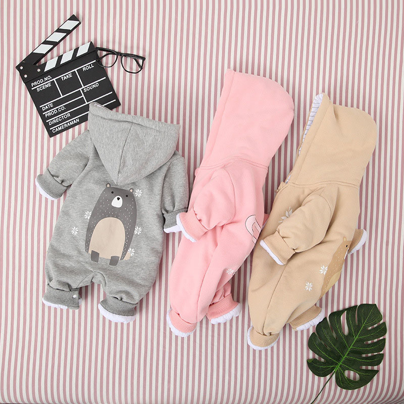 Newborn Baby Boys Girls Cartoon animals bear rabbit   Romper   Autumn Fashion Zipper Long Sleeve Jumpsuit Baby Casual Cotton   Rompers