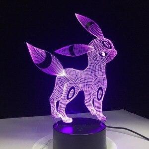 Image 5 - Umbreon Pokemon Go 3D Acrylic Đèn Ngủ USB Ngủ 3AA Pin 7 Màu Thay Đổi Đèn Bàn Trang Trí Phòng Ngủ Trẻ Em quà Tặng Sinh Nhật