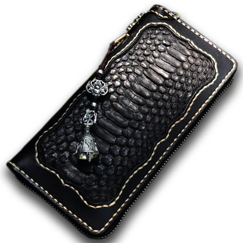 Main Python motif incrusté hommes et femmes longs portefeuilles en cuir original en laiton porte-clés éléphant dieu goutte magique cloche pochette