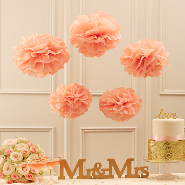 8pc Peach color Tissue Paper Flowers paper pom poms balls lantern Party Wedding decoration baby shower party decoration supplies