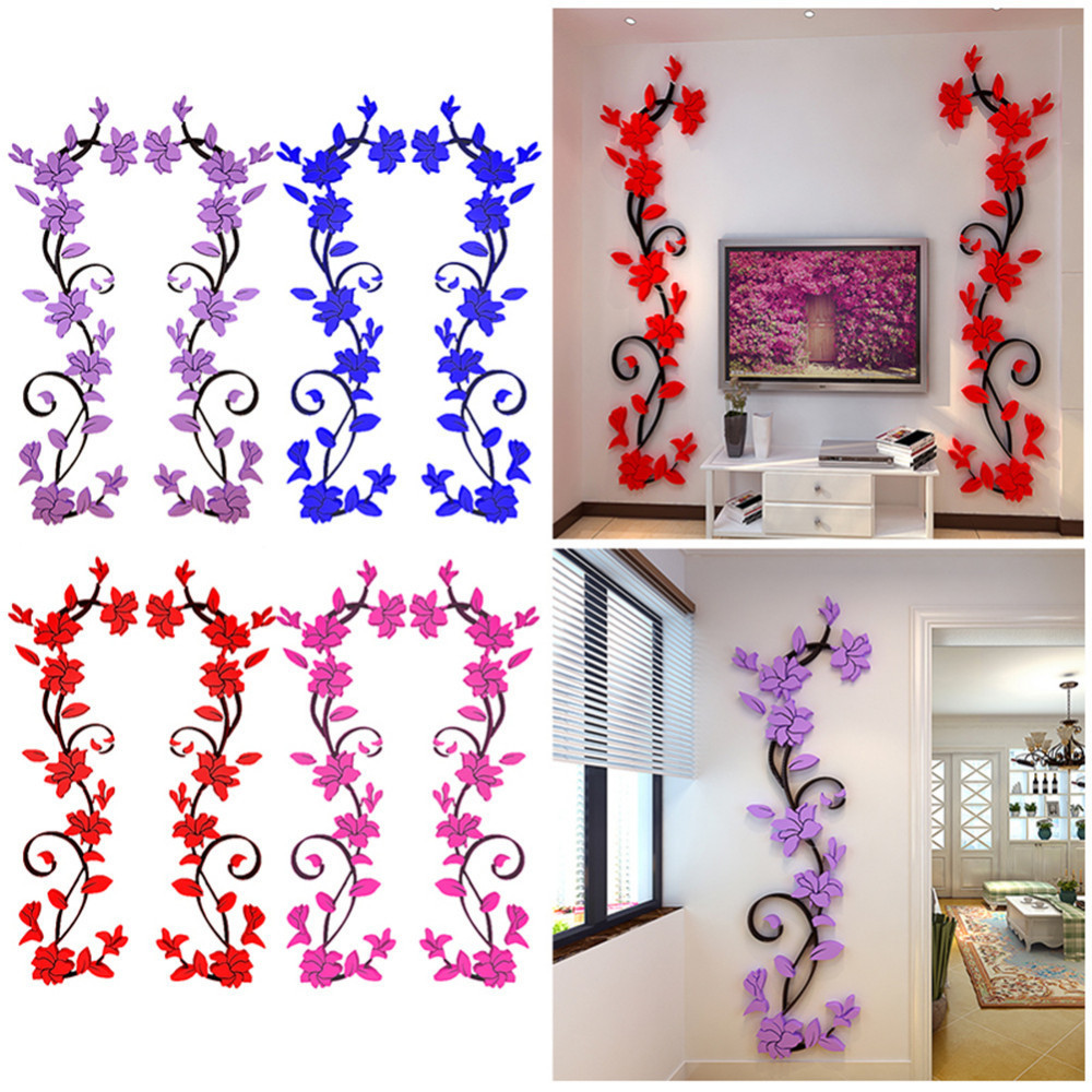 Rose Vine Acrylic 3d Wall Stickers Living Room Hallway Vestibule Bedroom TV Background Wall Stickers Home Decoration 115*36cm