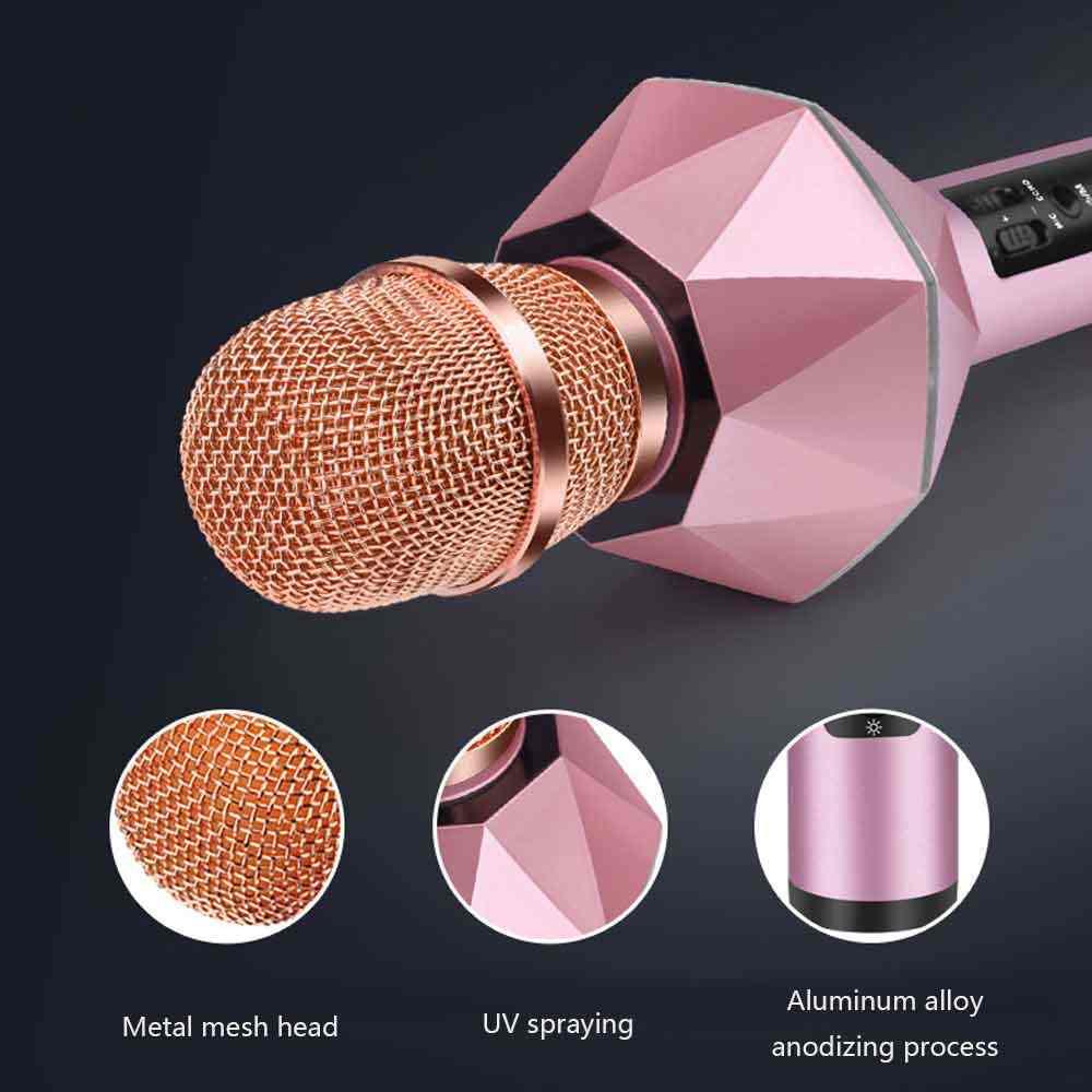 Bezprzewodowa Bluetooth KTV głośnik Mini domu mikrofon moda lampa błyskowa LED światła Hanheld mikrofon dla telefonów komórkowych odtwarzacz muzyki do telefonu