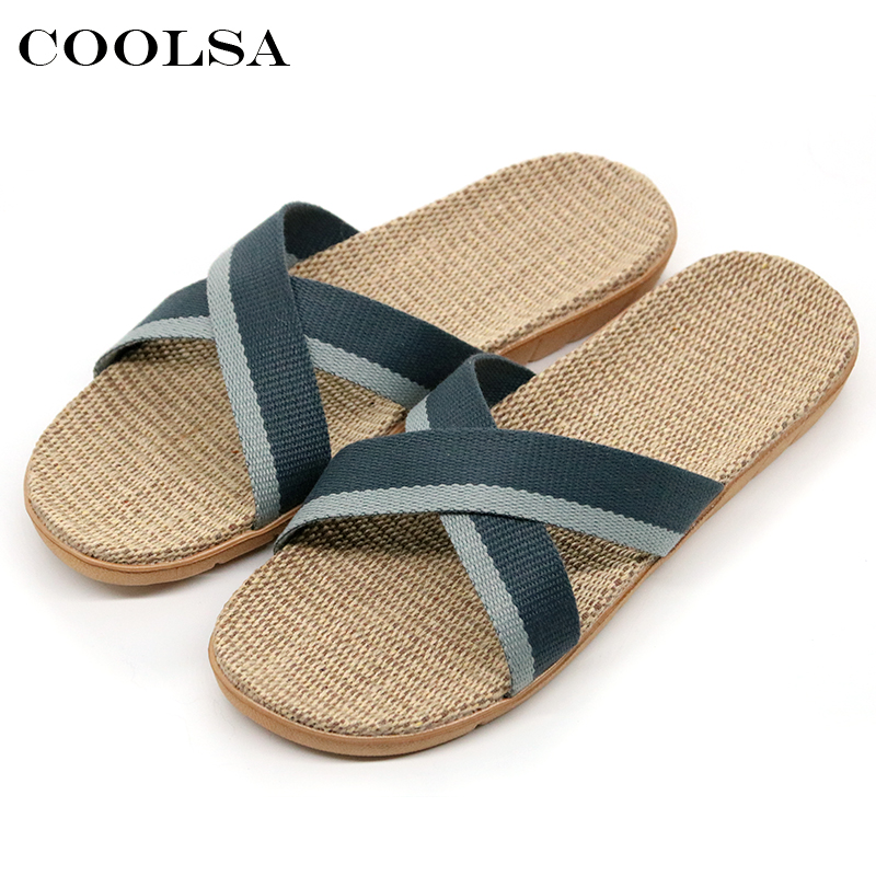 Coolsa Summer Men Flax Flip Flop Canvas Linen Non-Slip Designer Flat Slides Indoor Slippers Man Beach Sandals Casual Straw Shoes coolsa women s summer striped linen slippers breathable indoor non slip flax slippers women s slippers beach flip flops slides