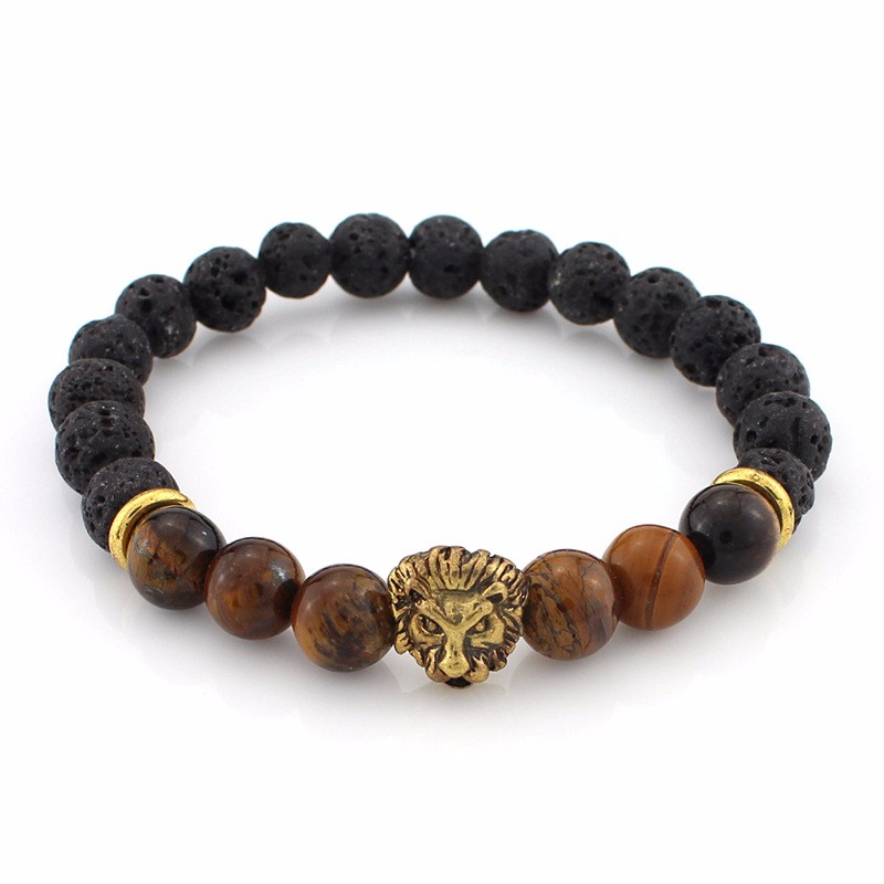 black-lava-stone-bracelets-with-gold-lion-with-brown-colored-natural-stones