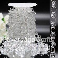 Свадебная акриловая восьмиугольная гирлянда ручной работы, 33 фута, хрустальная люстра из бисера, подвесное украшение, декор для свадебной вечеринки