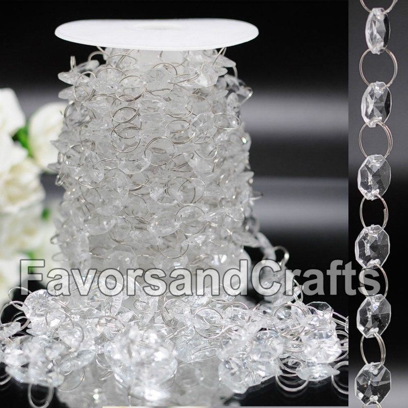Handmade 33FT Wedding Acrylic Octagon Garland Diamond Crystal Bead Chandelier Hanging Decoration Wedding Party Decor