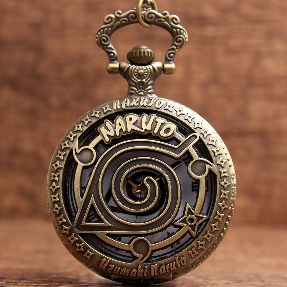 Vintage Retro Naruto Hentai ThemeHollow Design Black Roman Numbers Men's Quartz Pocket Watch Pendent Chain Relogio De Bolso