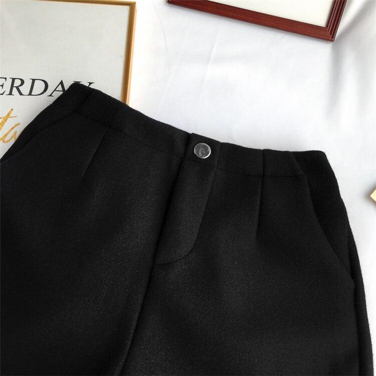 Winter Woolen Shorts Women High Waist Female Loose Thick Warm Elastic Waist Boots Shorts Wide Leg A-line Shorts Korean Fashion 45